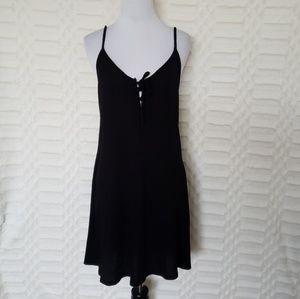 Black Lace Up Ribbed Cami Dress